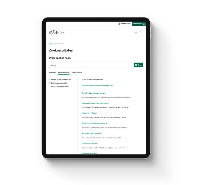 Website presented on tablet